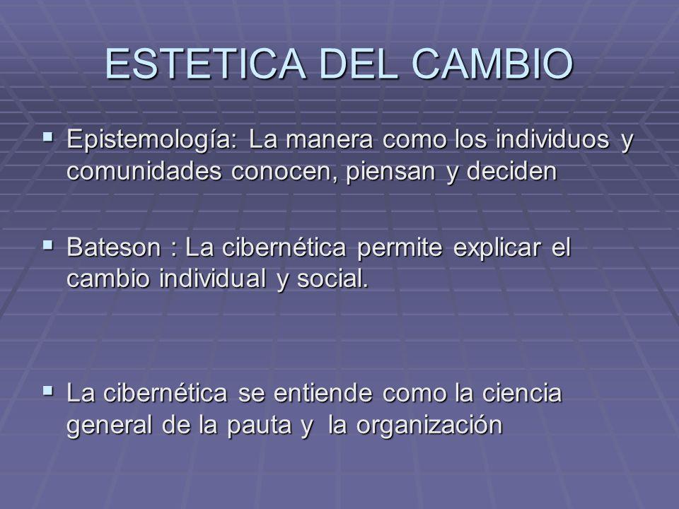 ESTETICA DEL CAMBIO Epistemología: La manera como los individuos y comunidades conocen, piensan y deciden Epistemología: La manera como los individuos