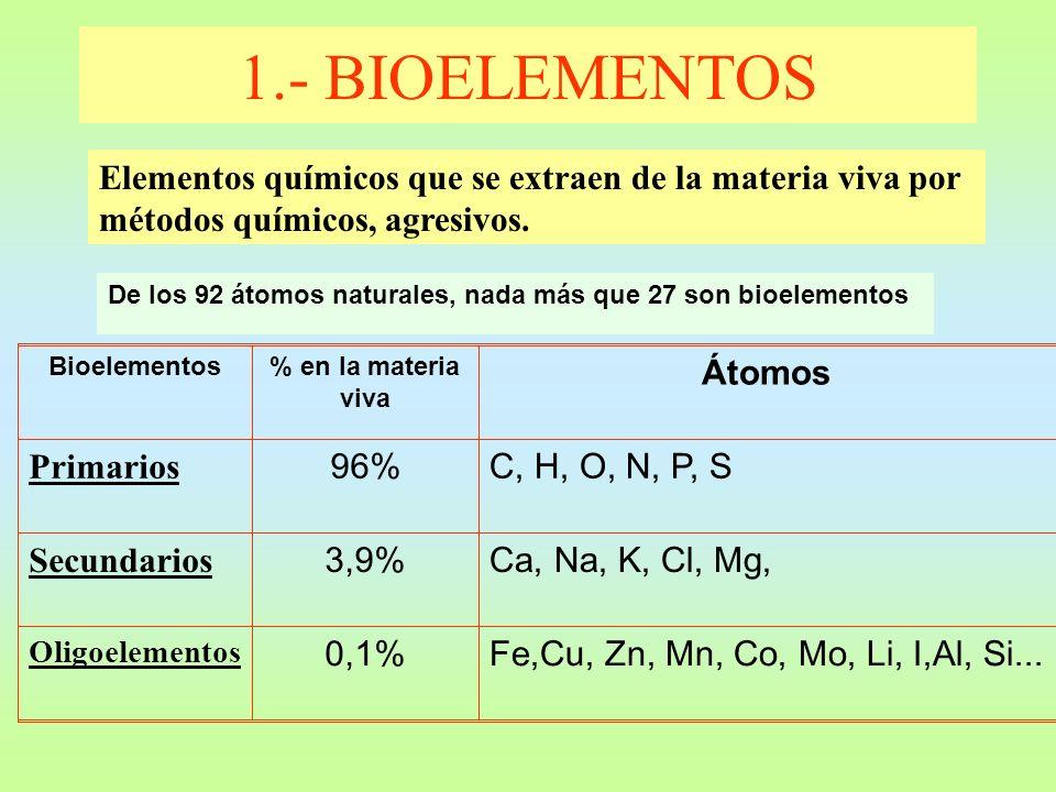 De los 92 átomos naturales, nada más que 27 son bioelementos 1.- BIOELEMENTOS Elementos químicos que se extraen de la materia viva por métodos químico
