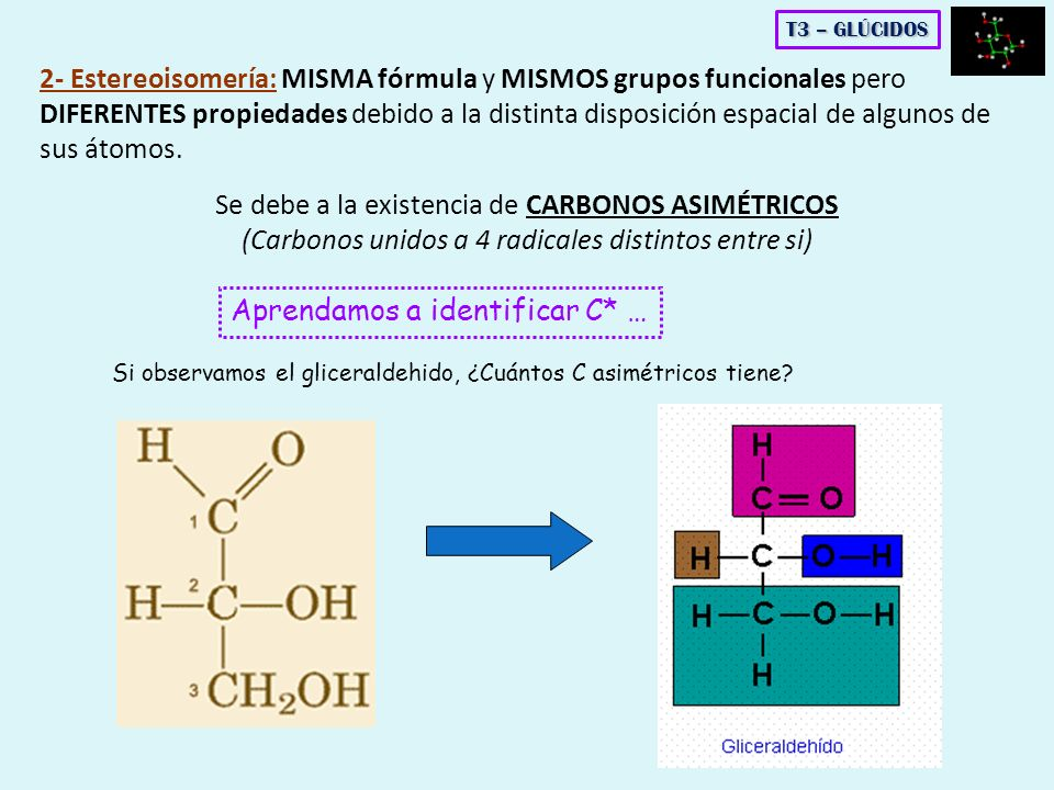 2- Estereoisomería: MISMA fórmula y MISMOS grupos funcionales pero DIFERENTES propiedades debido a la distinta disposición espacial de algunos de sus