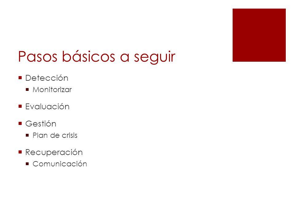 Pasos básicos a seguir Detección Monitorizar Evaluación Gestión Plan de crisis Recuperación Comunicación