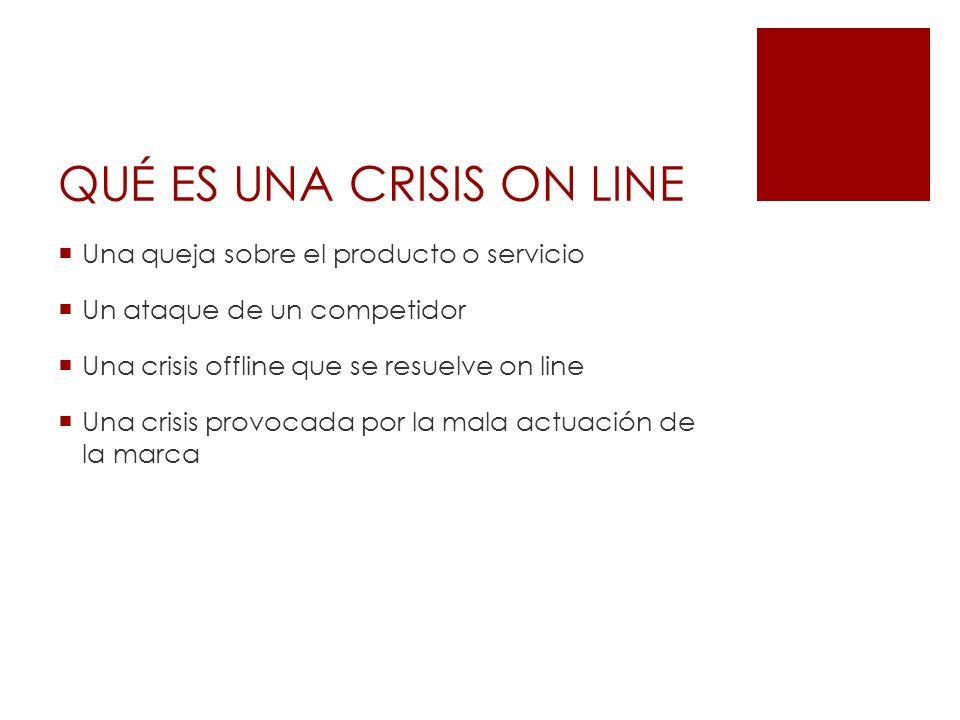 Una queja sobre el producto o servicio Un ataque de un competidor Una crisis offline que se resuelve on line Una crisis provocada por la mala actuació