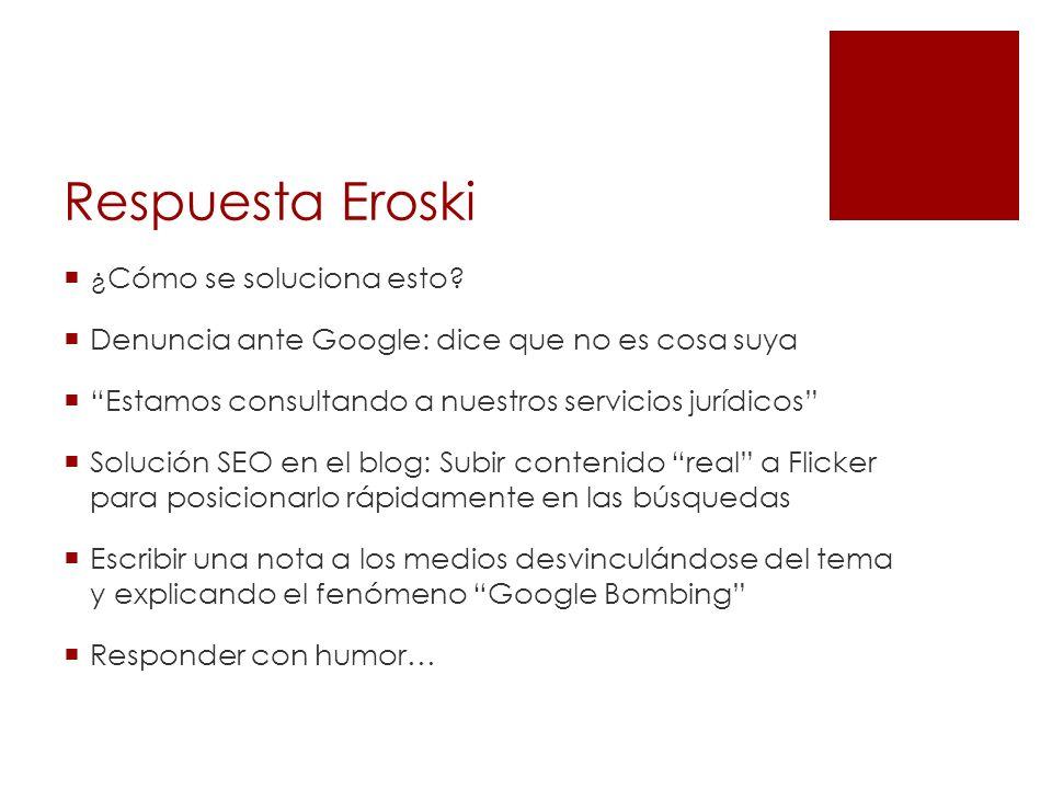 Respuesta Eroski ¿Cómo se soluciona esto? Denuncia ante Google: dice que no es cosa suya Estamos consultando a nuestros servicios jurídicos Solución S