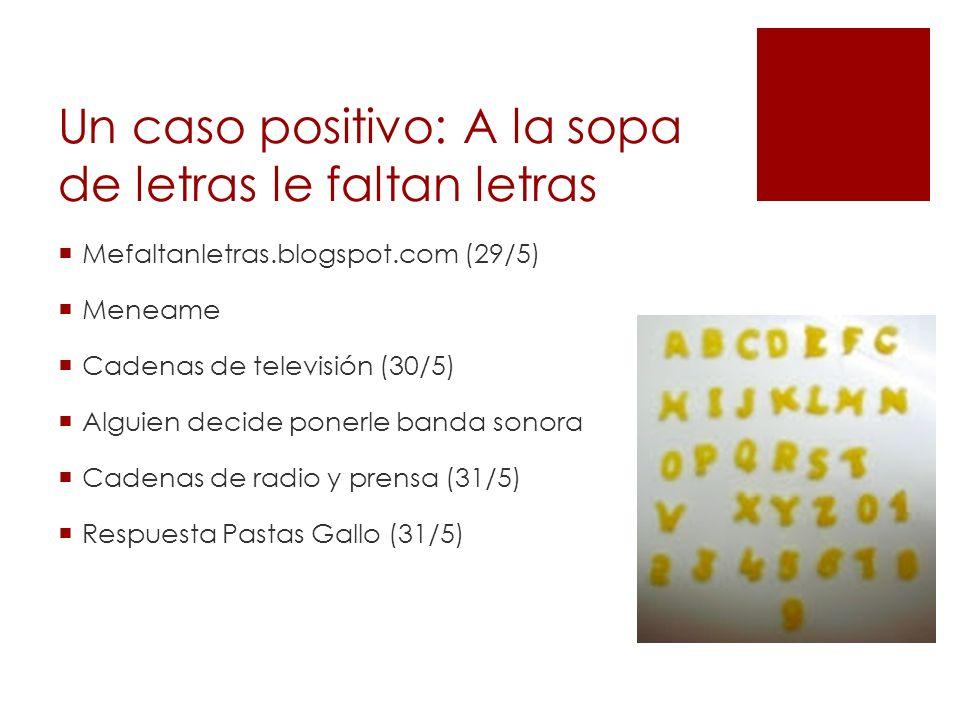 Un caso positivo: A la sopa de letras le faltan letras Mefaltanletras.blogspot.com (29/5) Meneame Cadenas de televisión (30/5) Alguien decide ponerle banda sonora Cadenas de radio y prensa (31/5) Respuesta Pastas Gallo (31/5)