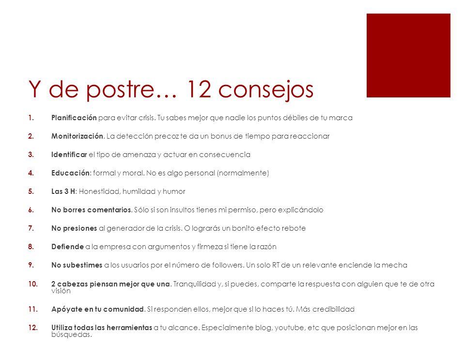 Y de postre… 12 consejos 1. Planificación para evitar crisis.