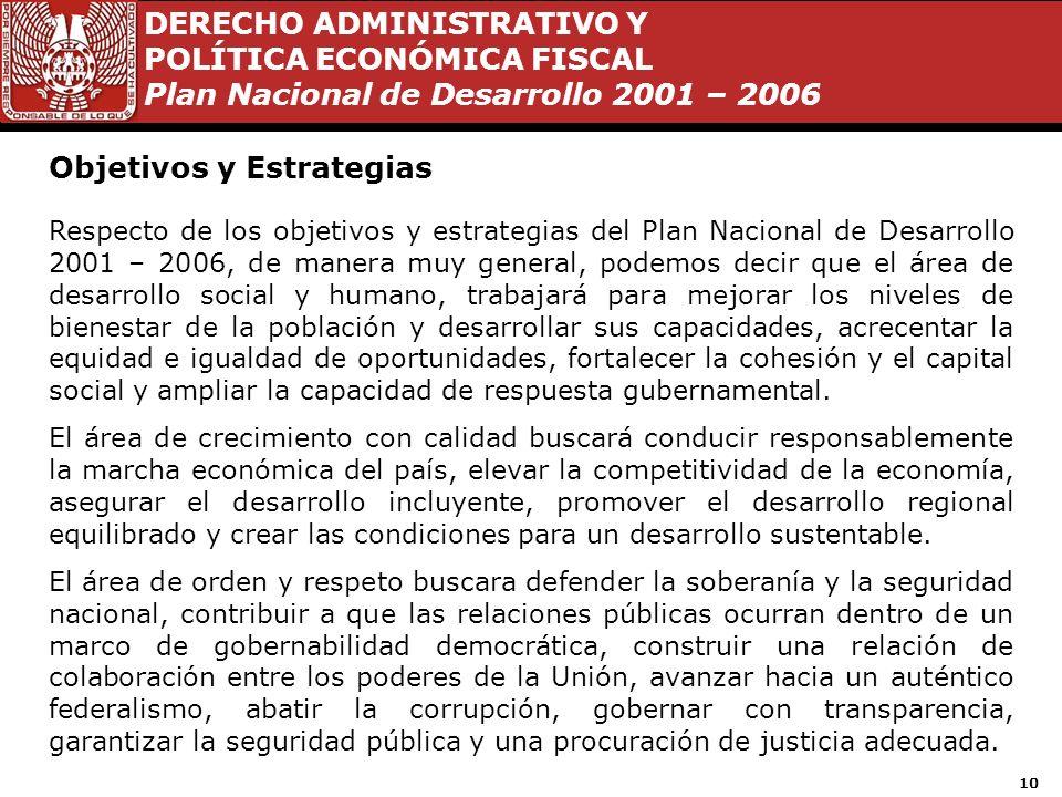 DERECHO ADMINISTRATIVO Y POLÍTICA ECONÓMICA FISCAL Plan Nacional de Desarrollo 2001 – 2006 9 Subdivisión del PND 4.Buen Gobierno, se subdivide en 5 gr