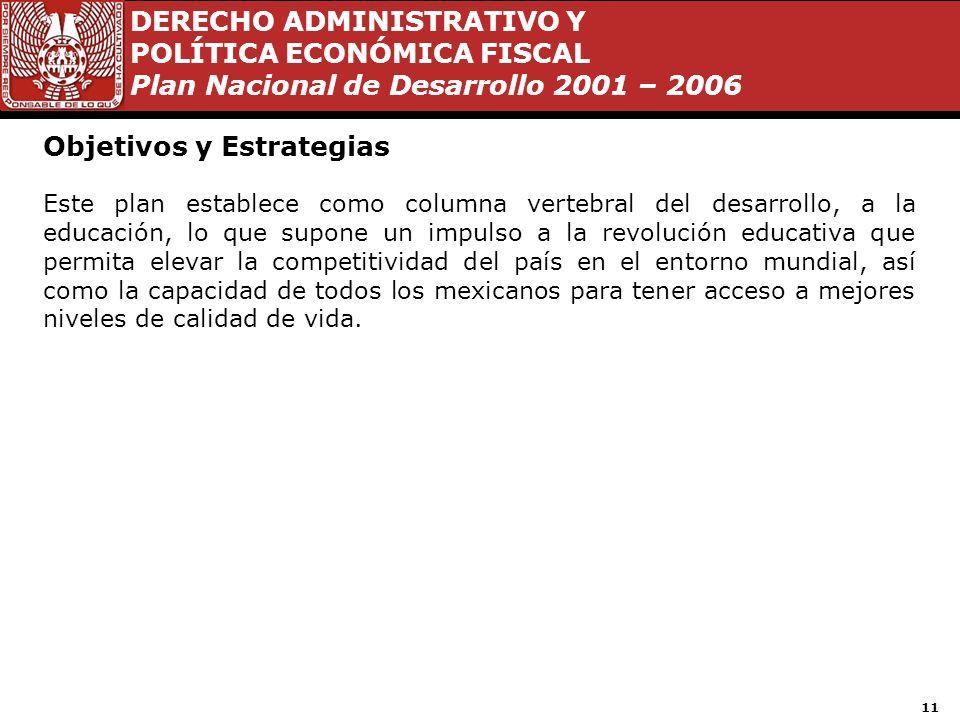 DERECHO ADMINISTRATIVO Y POLÍTICA ECONÓMICA FISCAL Plan Nacional de Desarrollo 2001 – 2006 10 Objetivos y Estrategias Respecto de los objetivos y estr