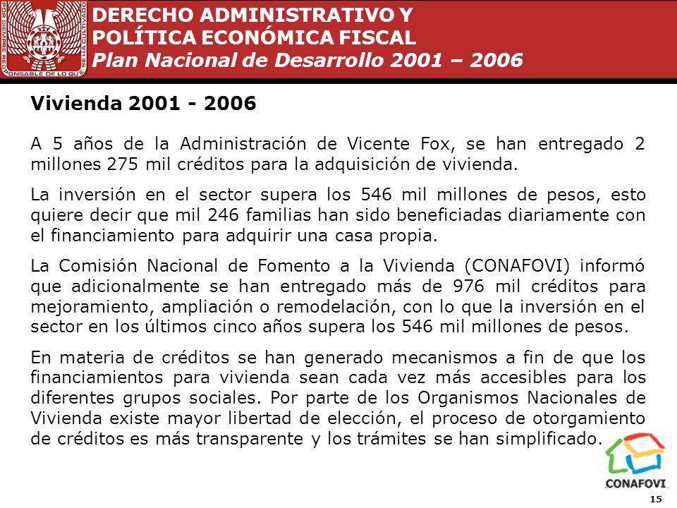 DERECHO ADMINISTRATIVO Y POLÍTICA ECONÓMICA FISCAL Plan Nacional de Desarrollo 2001 – 2006 14 Propuestas de reformas planteadas por VFQ 2000 - 2006 1.