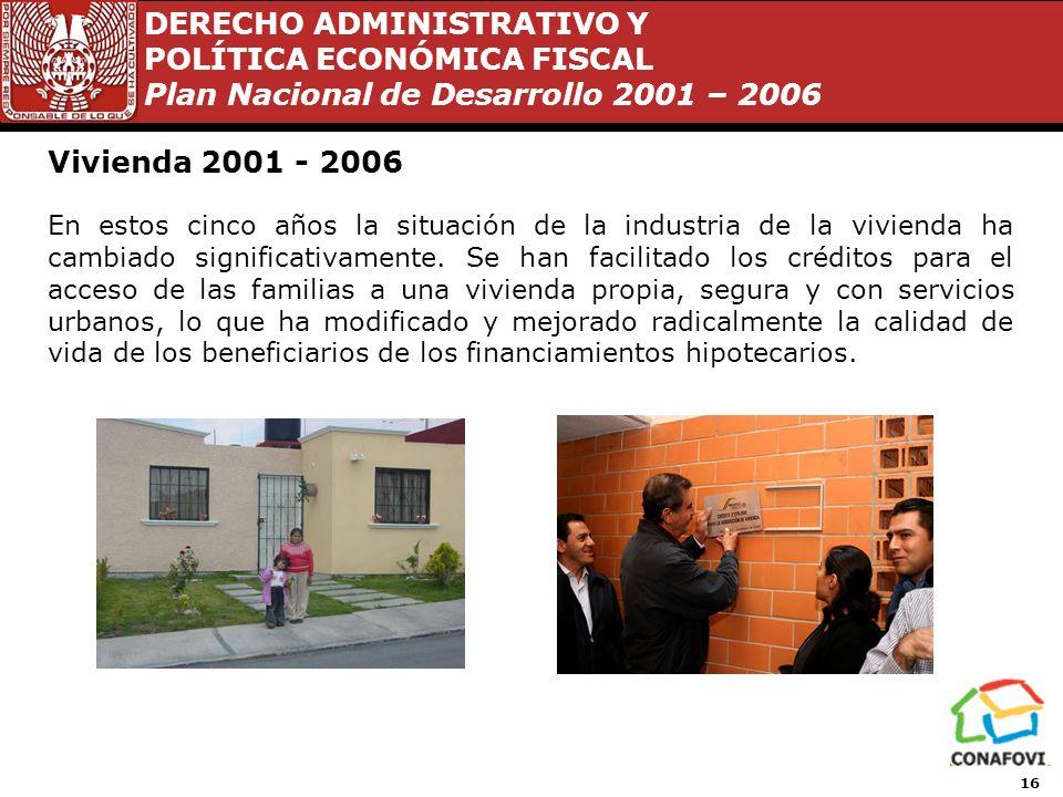 DERECHO ADMINISTRATIVO Y POLÍTICA ECONÓMICA FISCAL Plan Nacional de Desarrollo 2001 – 2006 15 Vivienda 2001 - 2006 A 5 años de la Administración de Vi
