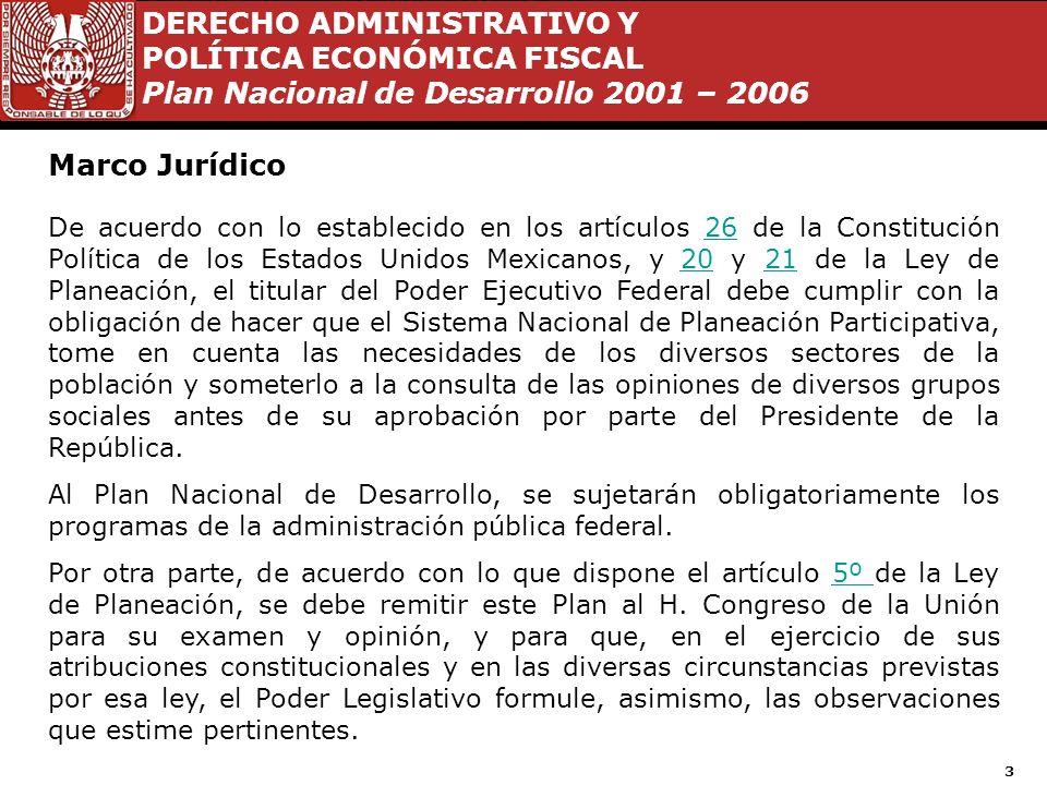 DERECHO ADMINISTRATIVO Y POLÍTICA ECONÓMICA FISCAL Plan Nacional de Desarrollo 2001 – 2006 13 Política Interior 2000 - 2006 En el año 2000 se efectuó un cambio en nuestro país en política interior, quedando la siguiente composición en el Poder Ejecutivo y Legislativo