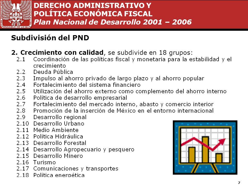 DERECHO ADMINISTRATIVO Y POLÍTICA ECONÓMICA FISCAL Plan Nacional de Desarrollo 2001 – 2006 7 Subdivisión del PND 2.Crecimiento con calidad, se subdivide en 18 grupos: