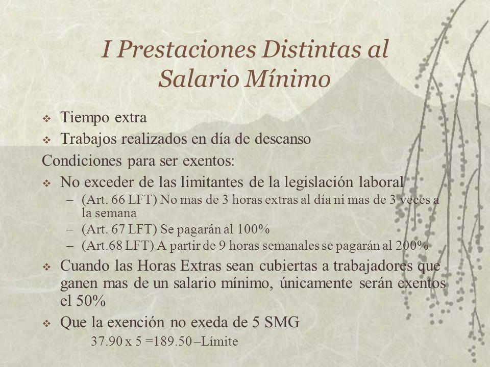 I Prestaciones Distintas al Salario Mínimo Tiempo extra Trabajos realizados en día de descanso Condiciones para ser exentos: No exceder de las limitan