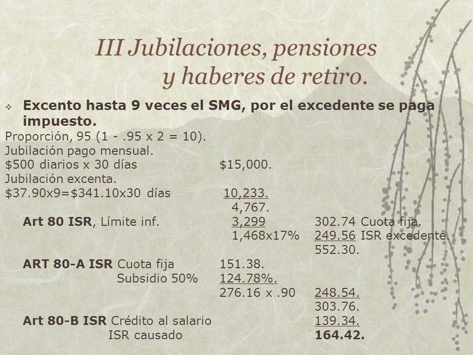 III Jubilaciones, pensiones y haberes de retiro. Excento hasta 9 veces el SMG, por el excedente se paga impuesto. Proporción, 95 (1 -.95 x 2 = 10). Ju