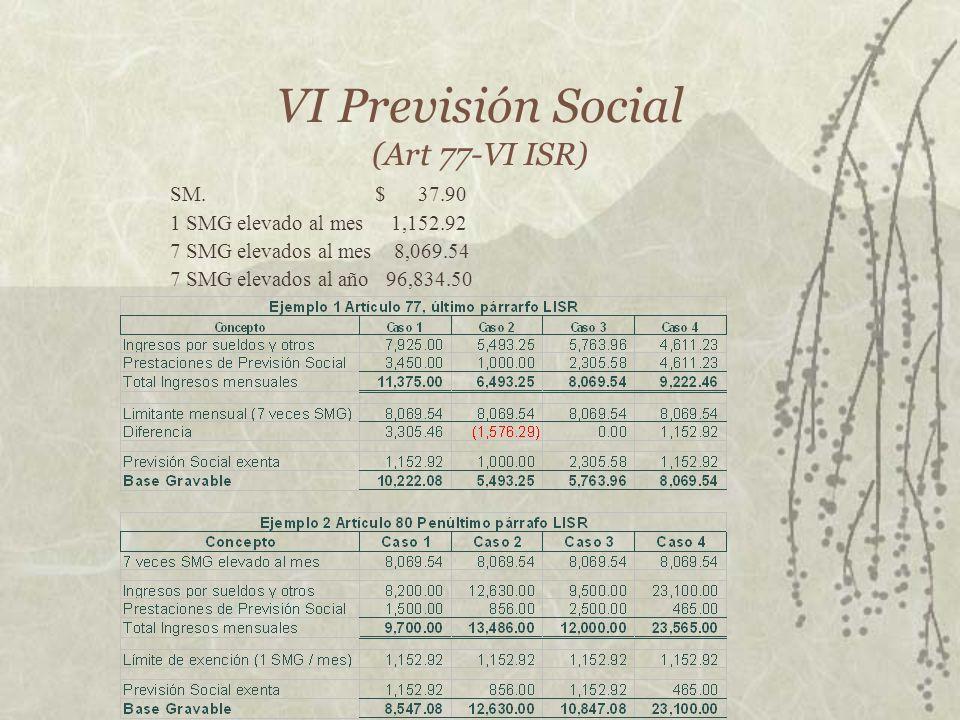VI Previsión Social (Art 77-VI ISR) SM. $ 37.90 1 SMG elevado al mes 1,152.92 7 SMG elevados al mes 8,069.54 7 SMG elevados al año 96,834.50