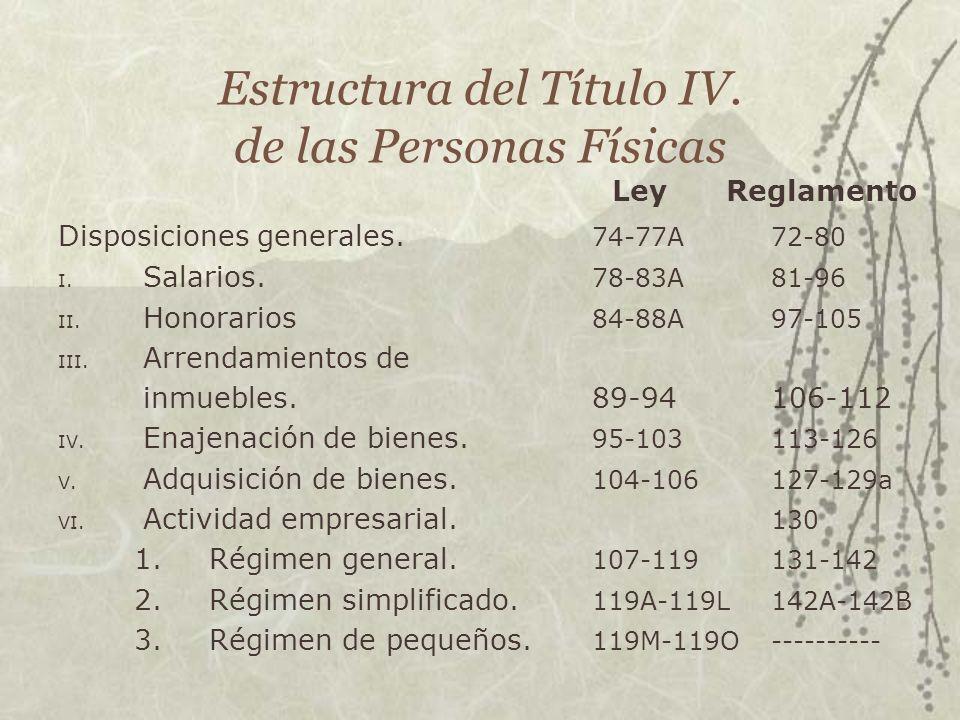Estructura del Título IV. de las Personas Físicas LeyReglamento Disposiciones generales. 74-77A72-80 I. Salarios. 78-83A81-96 II. Honorarios 84-88A97-