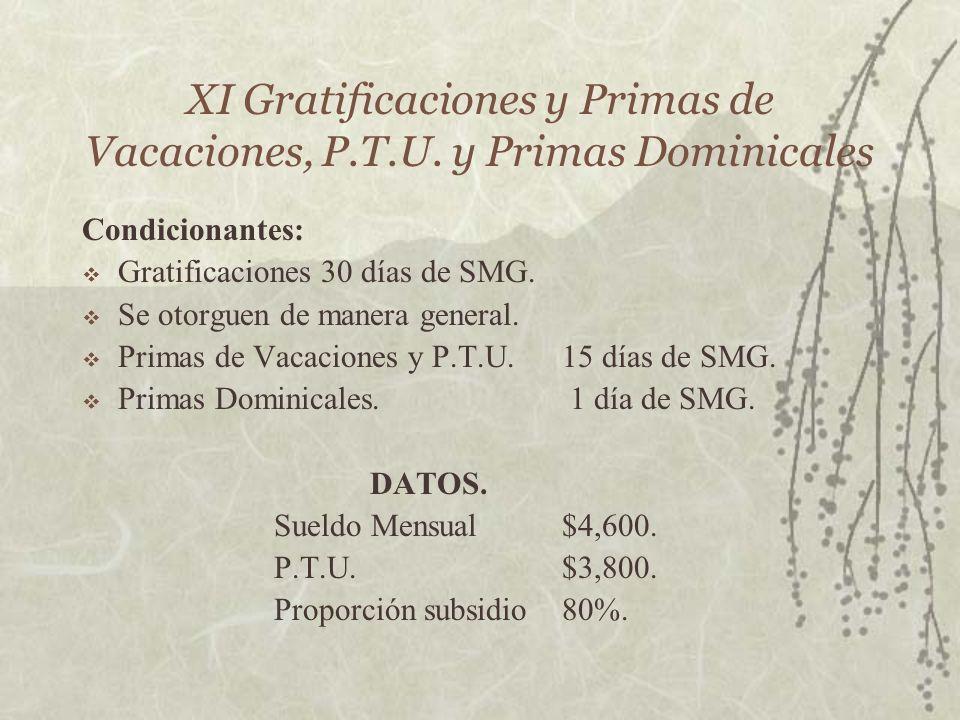 XI Gratificaciones y Primas de Vacaciones, P.T.U. y Primas Dominicales Condicionantes: Gratificaciones 30 días de SMG. Se otorguen de manera general.