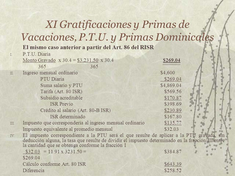 XI Gratificaciones y Primas de Vacaciones, P.T.U. y Primas Dominicales El mismo caso anterior a partir del Art. 86 del RISR I. P.T.U. Diaria Monto Gra
