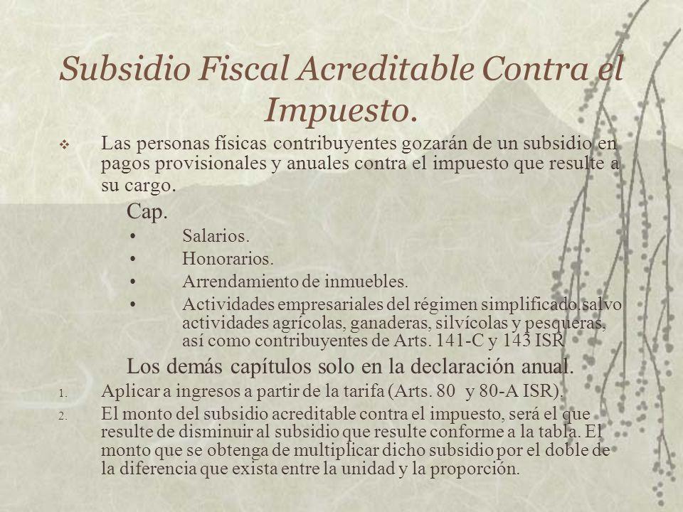 Subsidio Fiscal Acreditable Contra el Impuesto. Las personas físicas contribuyentes gozarán de un subsidio en pagos provisionales y anuales contra el