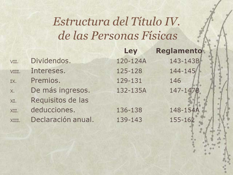 Estructura del Título IV. de las Personas Físicas Ley Reglamento VII. Dividendos. 120-124A143-143B VIII. Intereses. 125-128144-145 IX. Premios. 129-13