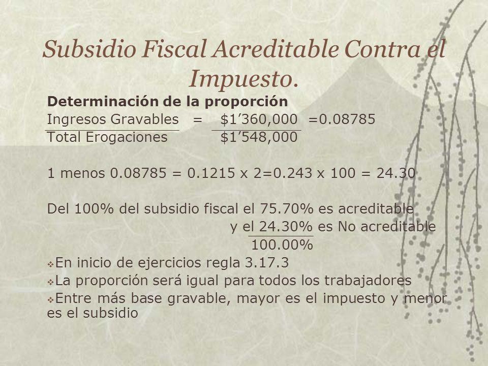 Subsidio Fiscal Acreditable Contra el Impuesto. Determinación de la proporción Ingresos Gravables = $1360,000 =0.08785 Total Erogaciones $1548,000 1 m