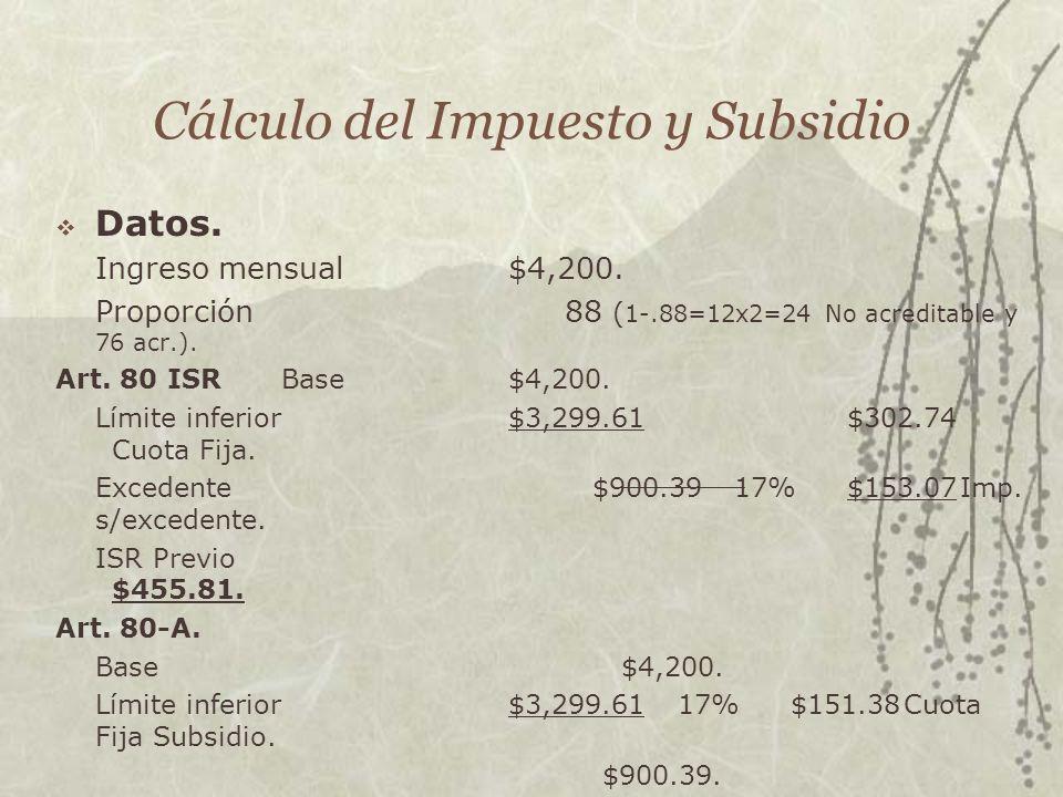 Cálculo del Impuesto y Subsidio Datos. Ingreso mensual$4,200. Proporción88 ( 1-.88=12x2=24 No acreditable y 76 acr.). Art. 80 ISR Base $4,200. Límite