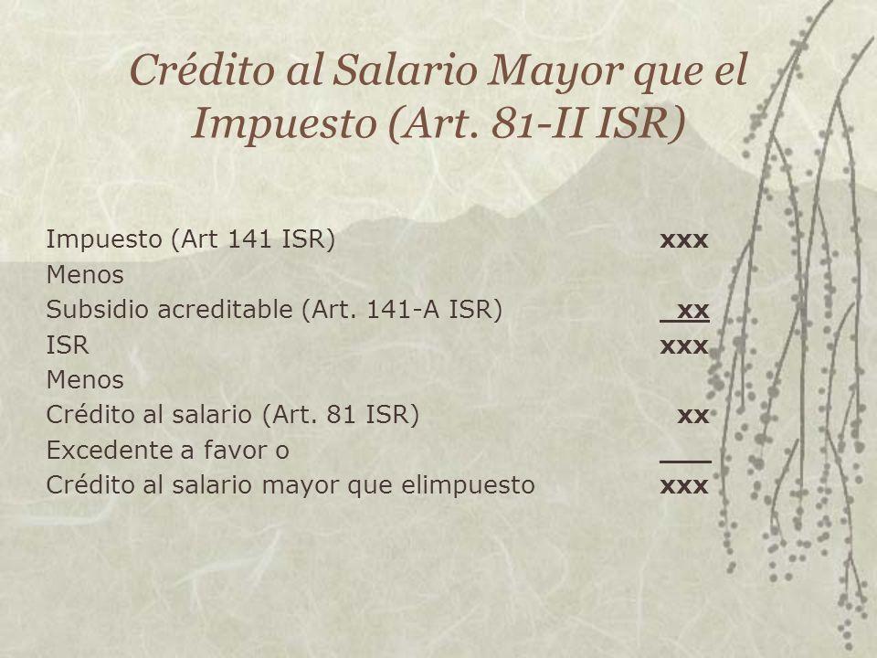 Crédito al Salario Mayor que el Impuesto (Art. 81-II ISR) Impuesto (Art 141 ISR)xxx Menos Subsidio acreditable (Art. 141-A ISR) xx ISRxxx Menos Crédit