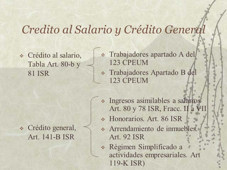 Credito al Salario y Crédito General Crédito al salario, Tabla Art. 80-b y 81 ISR Crédito general, Art. 141-B ISR Trabajadores apartado A del 123 CPEU