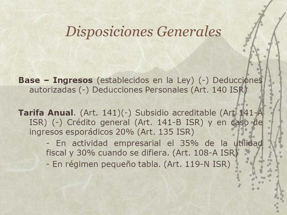 Disposiciones Generales Base – Ingresos (establecidos en la Ley) (-) Deducciones autorizadas (-) Deducciones Personales (Art. 140 ISR) Tarifa Anual. (