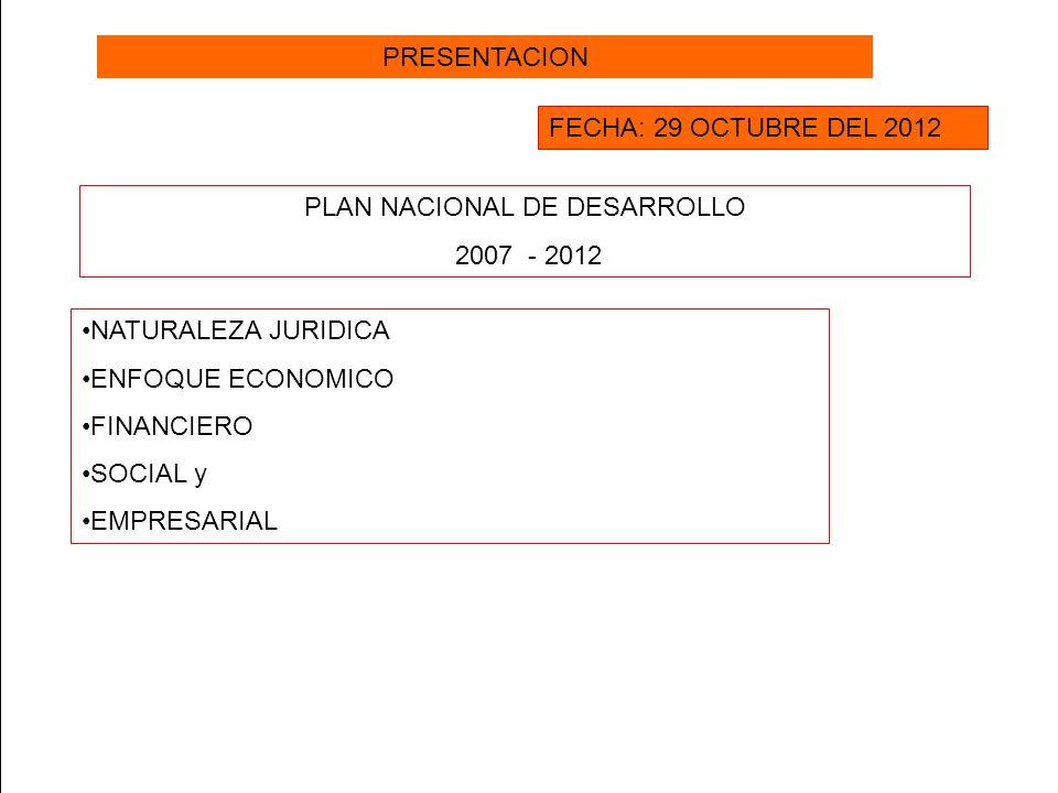 PRESENTACION FECHA: 29 OCTUBRE DEL 2012 PLAN NACIONAL DE DESARROLLO 2007 - 2012 NATURALEZA JURIDICA ENFOQUE ECONOMICO FINANCIERO SOCIAL y EMPRESARIAL