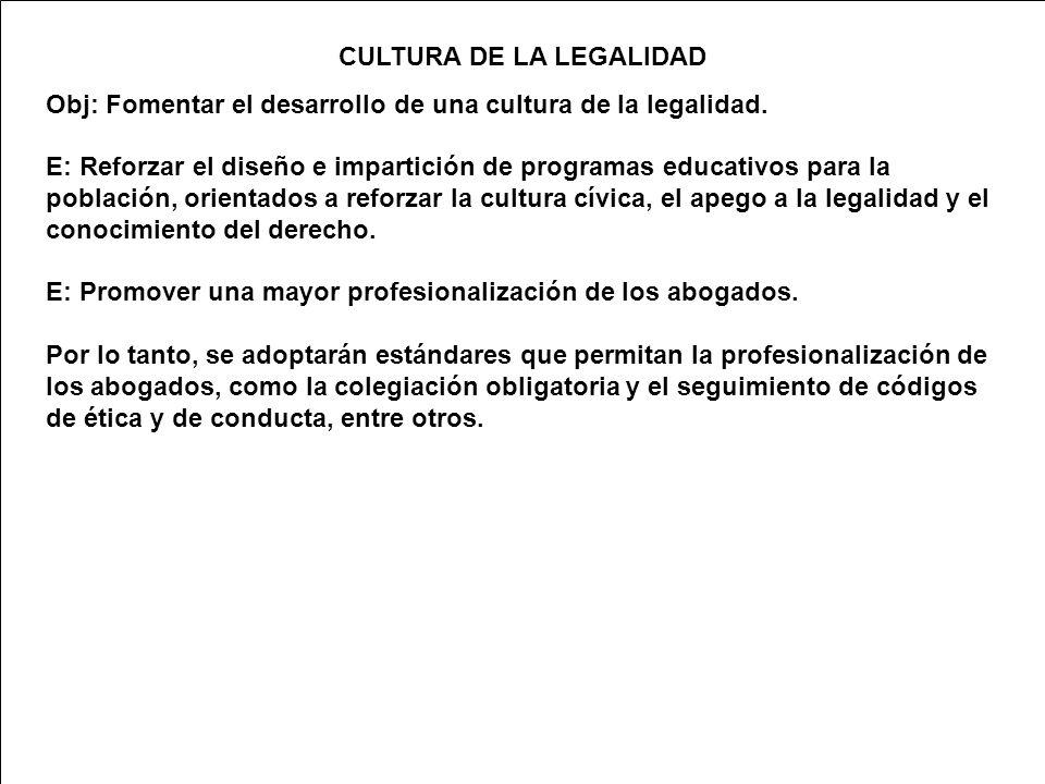 CULTURA DE LA LEGALIDAD Obj: Fomentar el desarrollo de una cultura de la legalidad.