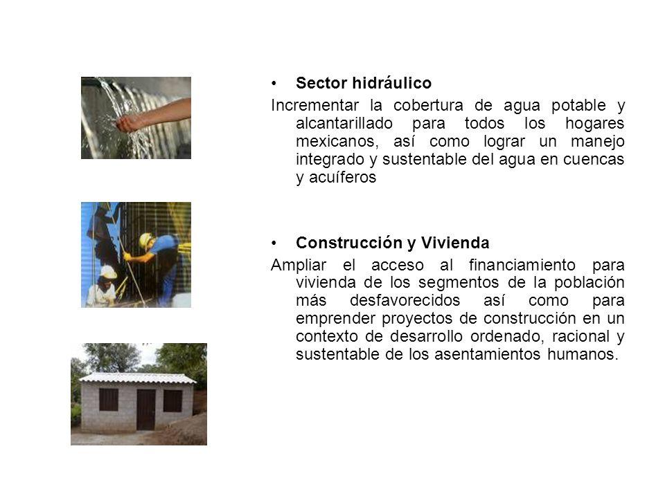Sector hidráulico Incrementar la cobertura de agua potable y alcantarillado para todos los hogares mexicanos, así como lograr un manejo integrado y sustentable del agua en cuencas y acuíferos Construcción y Vivienda Ampliar el acceso al financiamiento para vivienda de los segmentos de la población más desfavorecidos así como para emprender proyectos de construcción en un contexto de desarrollo ordenado, racional y sustentable de los asentamientos humanos.
