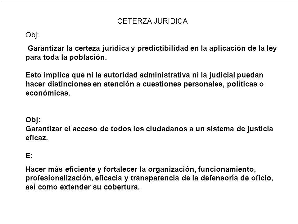 CETERZA JURIDICA Obj: Garantizar la certeza jurídica y predictibilidad en la aplicación de la ley para toda la población.