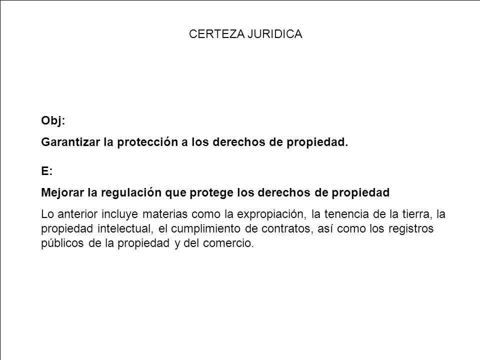 CERTEZA JURIDICA Obj: Garantizar la protección a los derechos de propiedad.