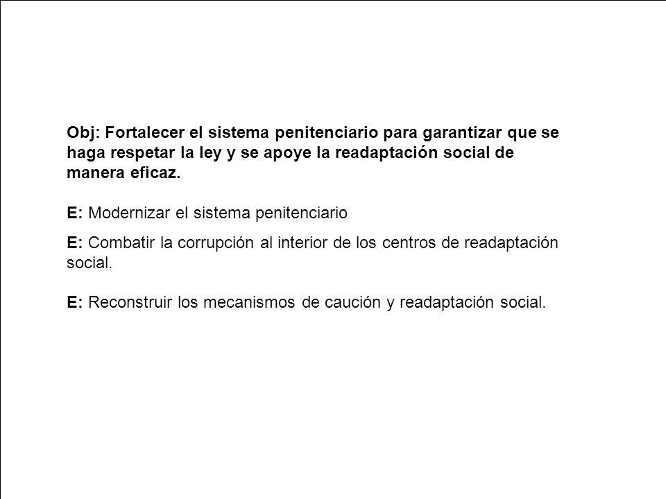 Obj: Fortalecer el sistema penitenciario para garantizar que se haga respetar la ley y se apoye la readaptación social de manera eficaz.