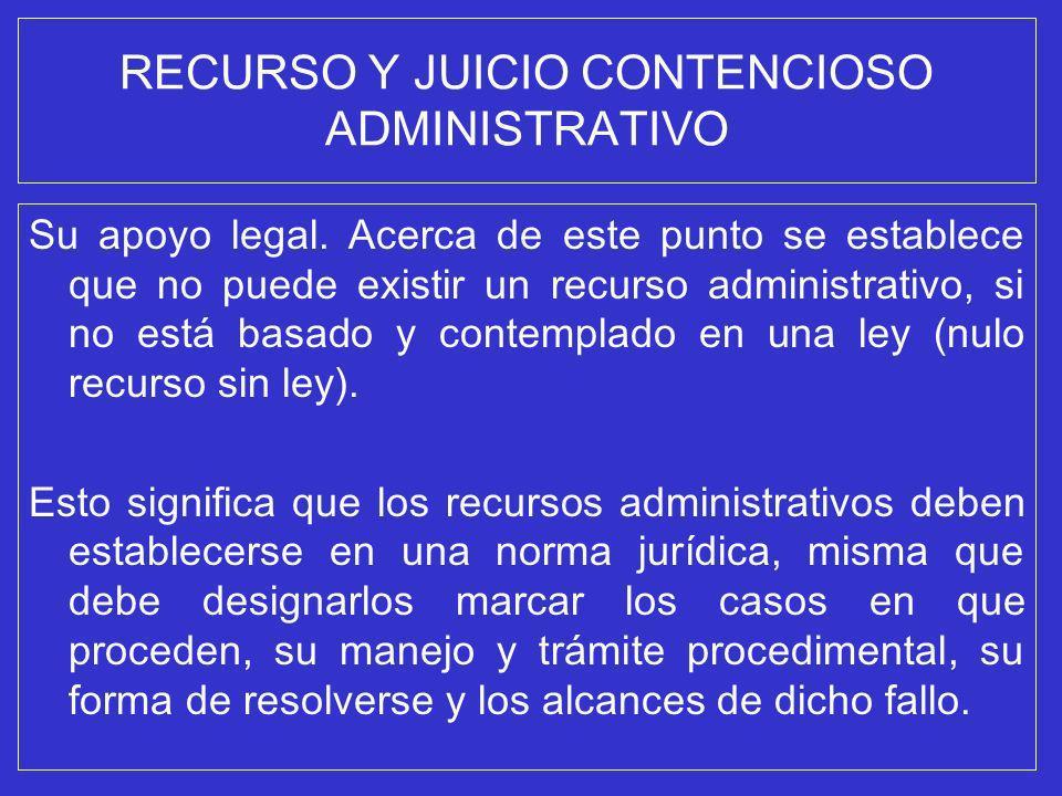 RECURSO Y JUICIO CONTENCIOSO ADMINISTRATIVO Su apoyo legal. Acerca de este punto se establece que no puede existir un recurso administrativo, si no es
