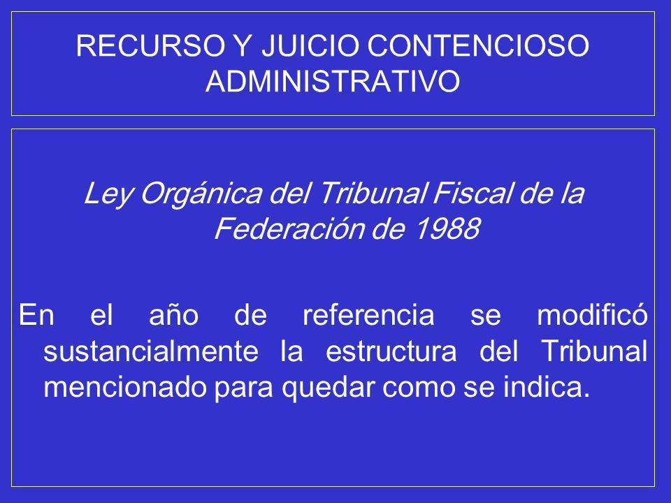 RECURSO Y JUICIO CONTENCIOSO ADMINISTRATIVO Ley Orgánica del Tribunal Fiscal de la Federación de 1988 En el año de referencia se modificó sustancialme