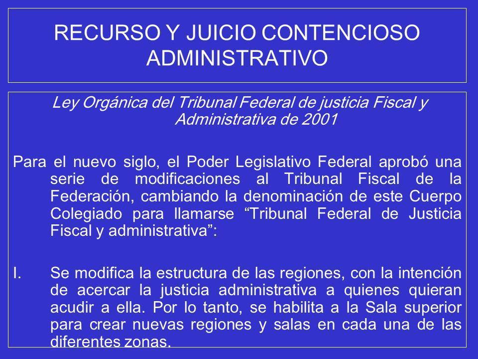 RECURSO Y JUICIO CONTENCIOSO ADMINISTRATIVO Ley Orgánica del Tribunal Federal de justicia Fiscal y Administrativa de 2001 Para el nuevo siglo, el Pode