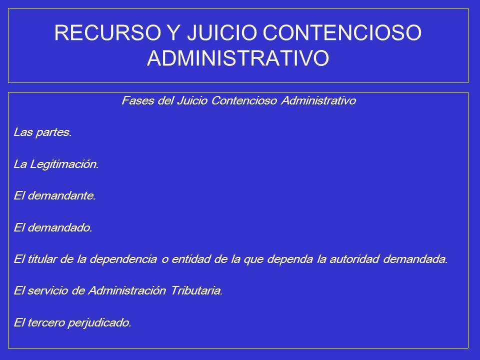RECURSO Y JUICIO CONTENCIOSO ADMINISTRATIVO Fases del Juicio Contencioso Administrativo Las partes. La Legitimación. El demandante. El demandado. El t