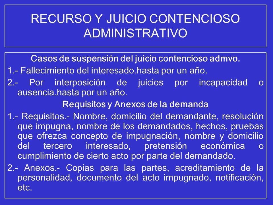 RECURSO Y JUICIO CONTENCIOSO ADMINISTRATIVO Casos de suspensión del juicio contencioso admvo. 1.- Fallecimiento del interesado.hasta por un año. 2.- P