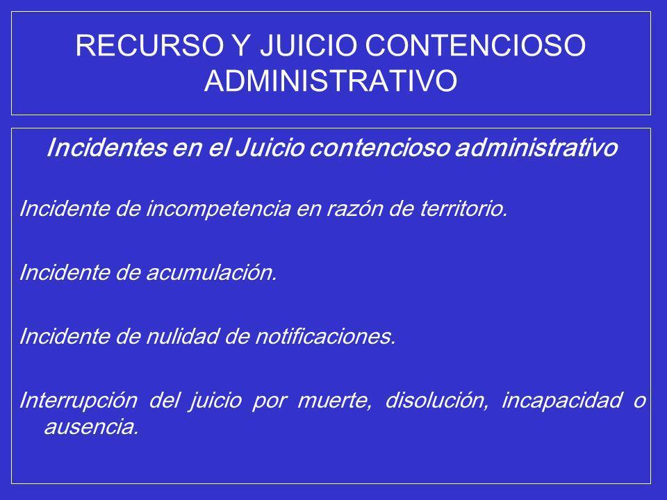 RECURSO Y JUICIO CONTENCIOSO ADMINISTRATIVO Incidentes en el Juicio contencioso administrativo Incidente de incompetencia en razón de territorio. Inci
