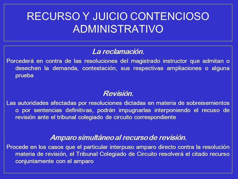 RECURSO Y JUICIO CONTENCIOSO ADMINISTRATIVO La reclamación. Porcederá en contra de las resoluciones del magistrado instructor que admitan o desechen l