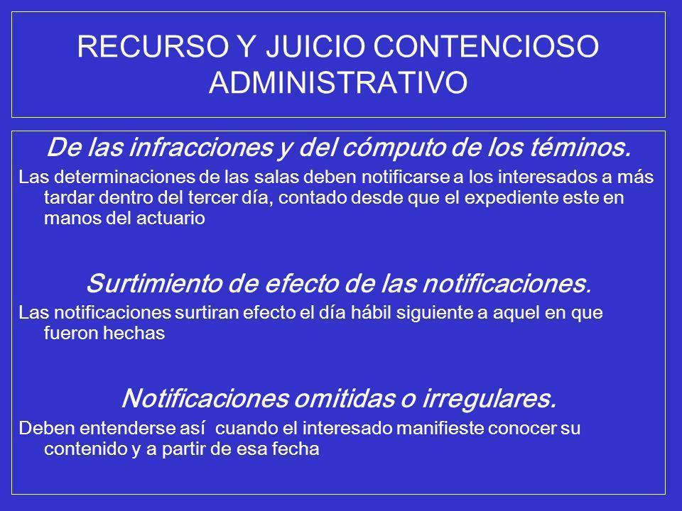 RECURSO Y JUICIO CONTENCIOSO ADMINISTRATIVO De las infracciones y del cómputo de los téminos. Las determinaciones de las salas deben notificarse a los