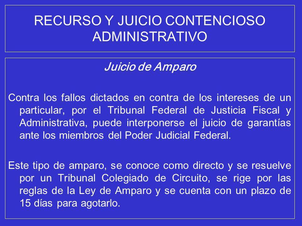 RECURSO Y JUICIO CONTENCIOSO ADMINISTRATIVO Juicio de Amparo Contra los fallos dictados en contra de los intereses de un particular, por el Tribunal F