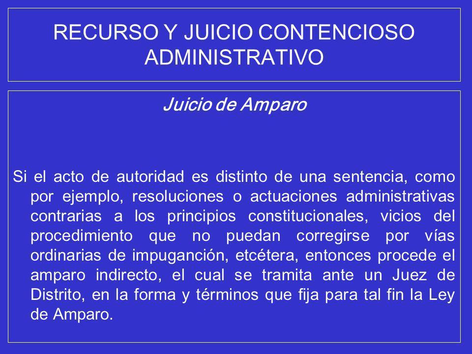 RECURSO Y JUICIO CONTENCIOSO ADMINISTRATIVO Juicio de Amparo Si el acto de autoridad es distinto de una sentencia, como por ejemplo, resoluciones o ac
