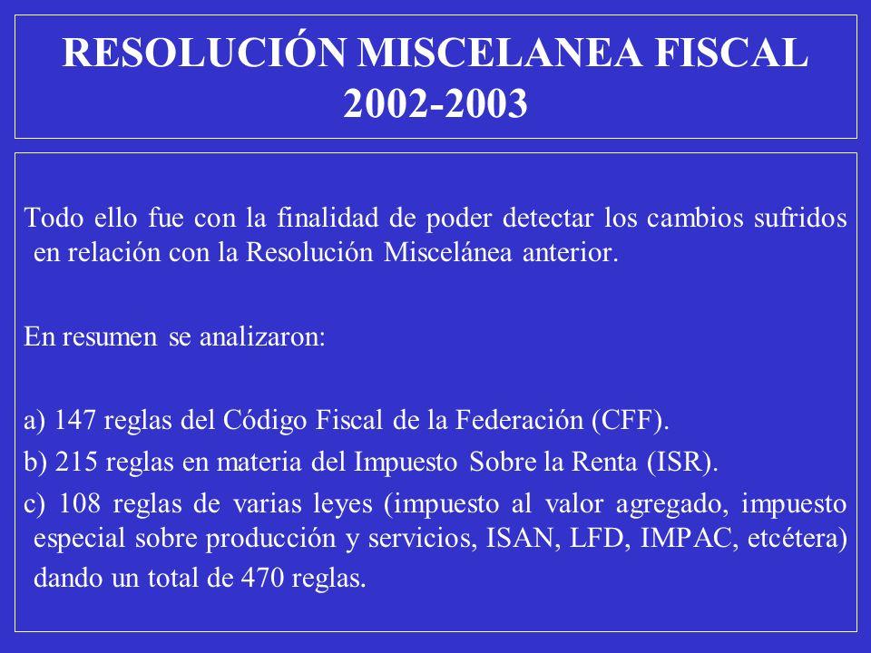 RESOLUCIÓN MISCELANEA FISCAL 2002-2003 Todo ello fue con la finalidad de poder detectar los cambios sufridos en relación con la Resolución Miscelánea