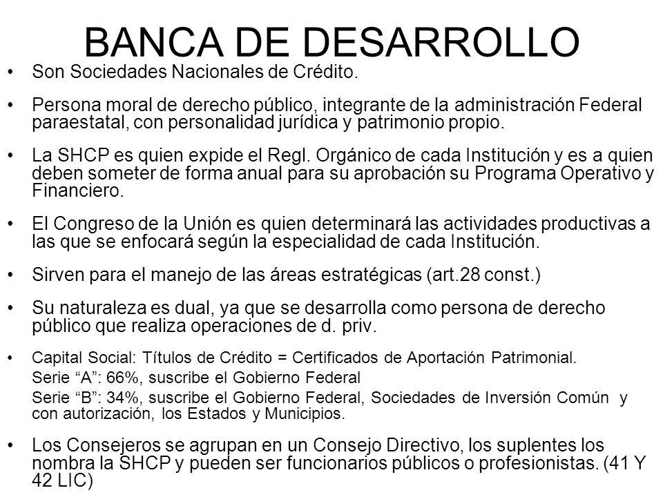 BANCA DE DESARROLLO Son Sociedades Nacionales de Crédito. Persona moral de derecho público, integrante de la administración Federal paraestatal, con p