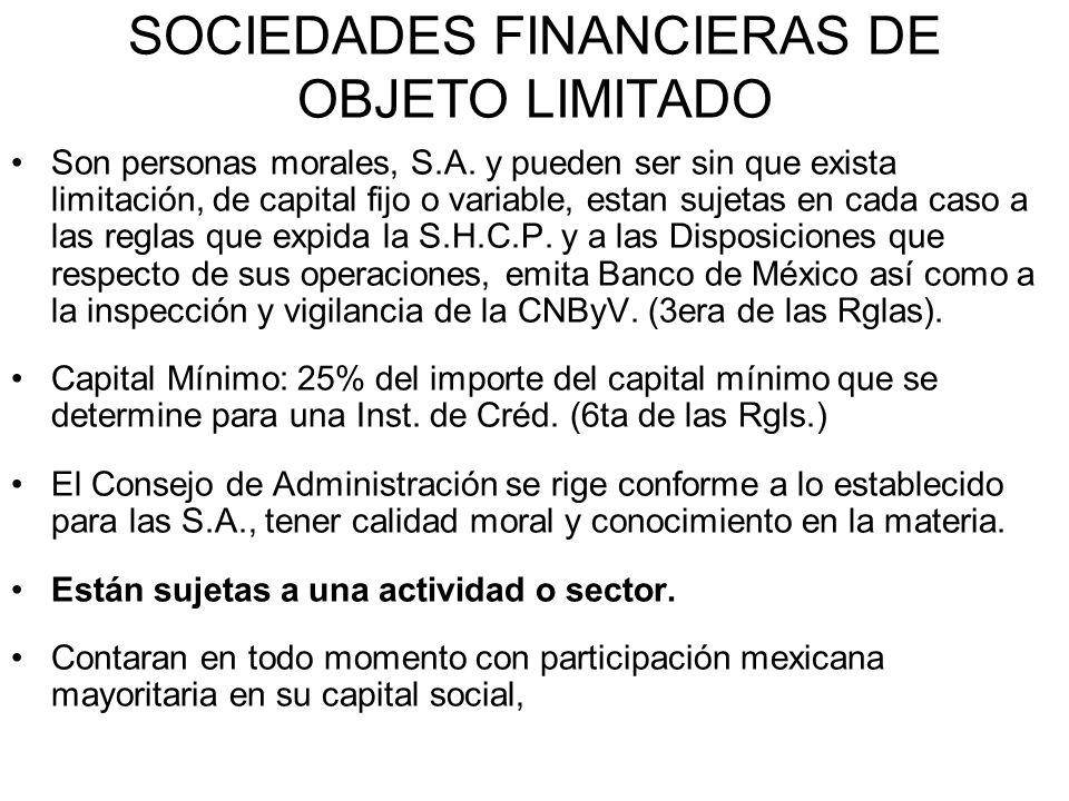 SOCIEDADES FINANCIERAS DE OBJETO LIMITADO Son personas morales, S.A. y pueden ser sin que exista limitación, de capital fijo o variable, estan sujetas