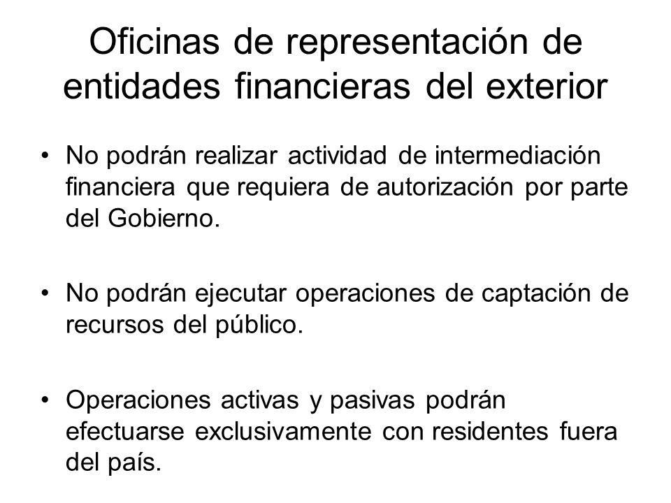 Oficinas de representación de entidades financieras del exterior No podrán realizar actividad de intermediación financiera que requiera de autorizació
