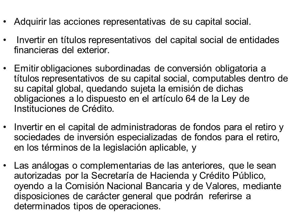 Adquirir las acciones representativas de su capital social. Invertir en títulos representativos del capital social de entidades financieras del exteri