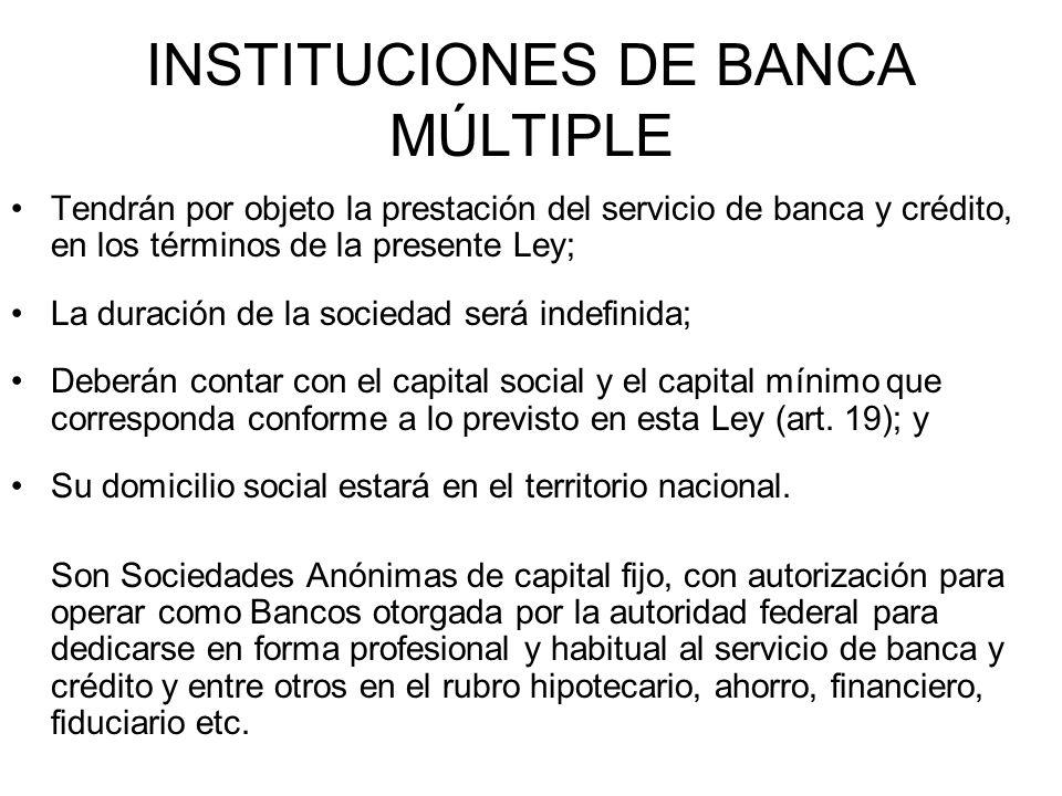 INSTITUCIONES DE BANCA MÚLTIPLE Tendrán por objeto la prestación del servicio de banca y crédito, en los términos de la presente Ley; La duración de l