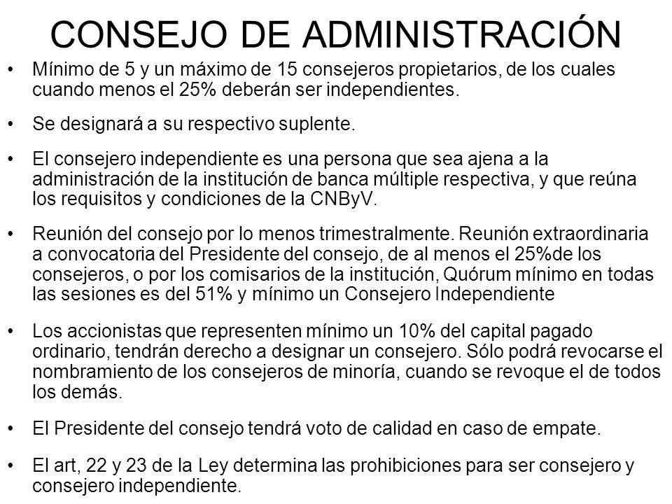 CONSEJO DE ADMINISTRACIÓN Mínimo de 5 y un máximo de 15 consejeros propietarios, de los cuales cuando menos el 25% deberán ser independientes. Se desi